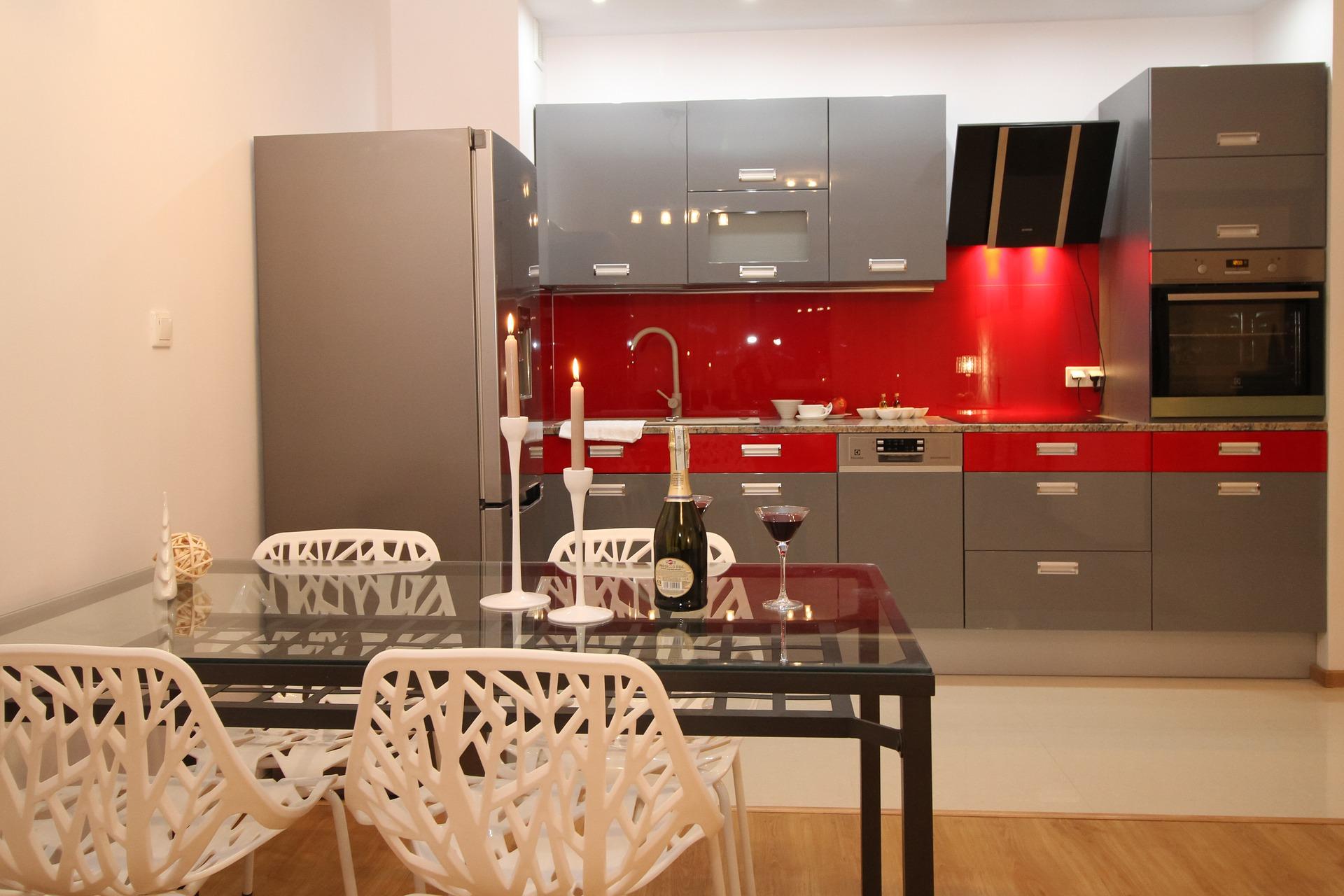 A red kitchen