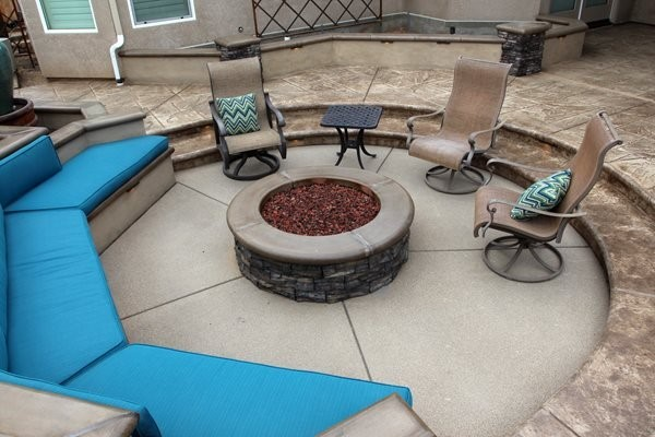 Exposed Aggregate, Sunken Patio Exposed Aggregate Heritage Bomanite Fresno, CA